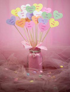 Valentine's Day Conversation Hearts Centerpiece Signs