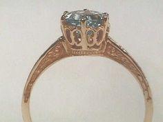 Edwardian 14K Yellow White Gold Filigree Antique Engagement Ring, Blue Topaz / Manmade Diamond, Vintage Tiffany Style Setting Patterned Band on Etsy, $599.00