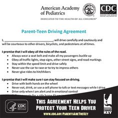 As a parent, one of the best steps you can take in keeping your teen driver safe is to make and enforce a Parent-Teen Driver Agreement. Create or update yours today, and share to help other parents keep their teen drivers safe. | Parents Are the Key to Safe Teen Driving | CDC Injury Center