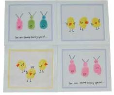 Easter Thumbprint Cards This is an easy craft for kids to make and it would be fun to save them and compare year by year.