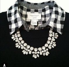 Dress up gingham and a sweater with a statement necklace