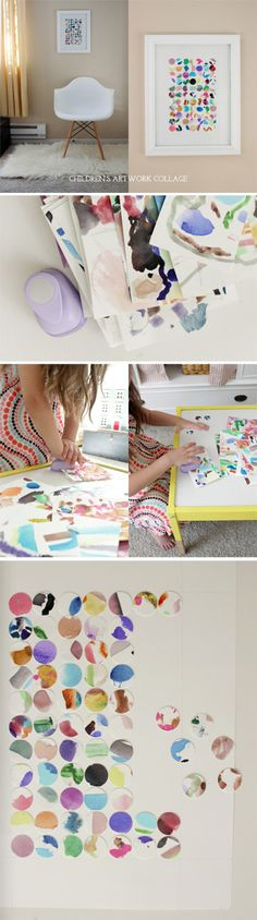 {Children's Artwork Collage} *What a fun way to play with paint