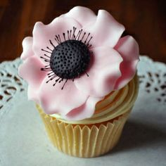Cake decorating tutorial on how to create a sugar Anemone flower for cakes and cupcakes