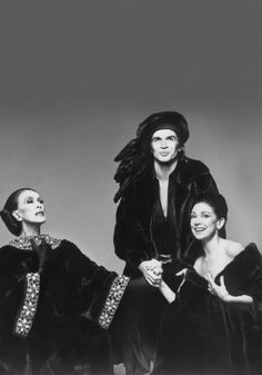 """Martha Graham, Rudolph Nureyev and Margot Fonteyn photographed by Richard Avedon for Blackglama (""""What Becomes a Legend Most?""""). Ran in Vogue, September 1976."""