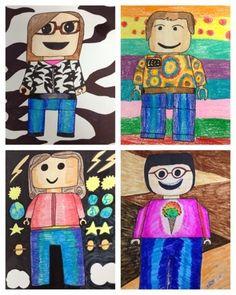 elementary self portrait using, self portraits, lego