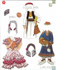 Traditional Folk Costumes of Europe 8 of 10 LAPLAND and SPAIN and YUGOSLAVIA