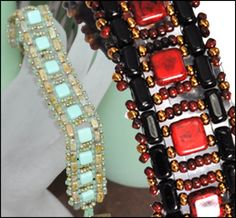 FREE PATTERN: 'Brick & Tile Ladder' bracelet by Starman TrendSetter Kathy Simonds. This bracelet features CzechMates 2-Hole Tiles and Bricks, and TOHO seed beads.