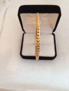18K +  Solid Gold Diamond Cut Bangle Bracelet