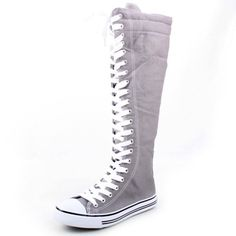 West Blvd Womens Canvas Sneakers Punk Skate Shoes Flat Lace Up Knee High Boots Skater Tall Dress Fashion Casual Designer Comfort, Grey Linen, US 9