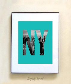 New York City, NY -Typography Photo Print in Aquamarine. Customize to your color decor!