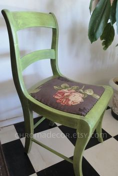 Hand-painted, charming vintage chair:     Check out our creative home decor items at www.CreativeHomeDecorations.com vintage chairs, chair idea, vintag chair, chair redo, painted chairs