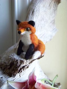 Needle Felted Perky Foxreserved by peachesproducts on Etsy, $40.00