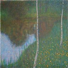 Lakeside with Birch Trees - Gustav Klimt