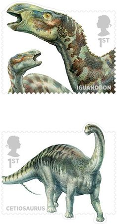 Dinosaurs [and other Mesozoic critters] | John Sibbick | Royal Mail | via @Jane Izard Izard Curtis Dinosaur