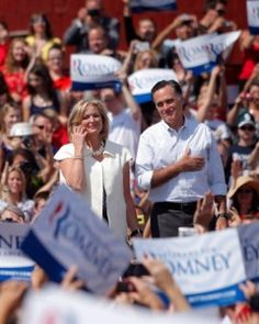 ann romney campaigning week before election | Mitt and Ann Romney stand onstage at a campaign stop in Michigan ...