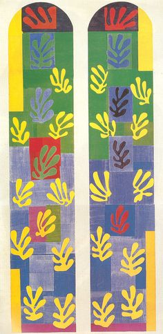 STAINED GLASS WINDOW WINDOW OF THE ABSIDE OF THE ROSARY CHAPEL  Musée Nazional d'Art Moderne  Centre Georges Pompidou, Paris  515 x 252 cm.  1948-1949  H Matisse