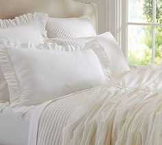 Hadley Ruched Duvet Cover & Sham - #potterybarn White bedding just touches of Ivory for the Master Bedroom.