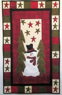 Blueberry Backroads Country Snowman in the Pines Wall Hanging Kit