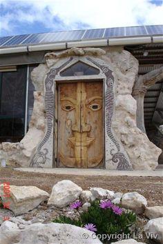 the doors, south australia, earth homes, the face, vivonn bay, front doors, wooden doors, kangaroo island, wood doors