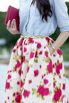 Pink Peonies. Full tea length floral skirt with a light denim shirt and great accessories.