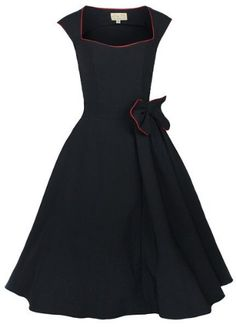 Lindy Bop 'Grace' Classy Vintage 1950's Rockabilly Style Bow Swing Party Dress (L, Black)