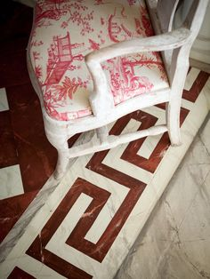painted floor and toile print chair at folly of Furlow Gatewood