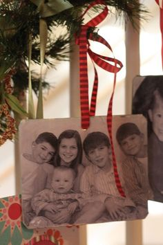 A family photo ornament for every year - photo Mod Podged onto a thin wooden plaque  {inexpensive gift idea!} We have beautiful photo ornaments from the 60's or 70's that my grandparents made, the pictures of them, my Dad, and my uncles. They are some of my absolute favorite Christmas decorations. They are beautiful and have a ton of personal value.