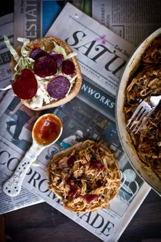 Pulled Pork Sandwiches with Pickled Beets and Cabbage