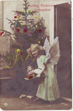 Vintage hungarian christmas postcard 1912..............d