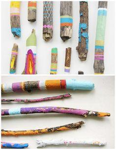 Kids art project - painted sticks