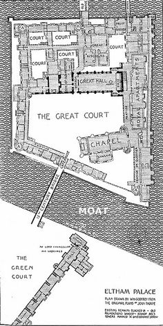 Plan of the old Royal Palace at Eltham in Kent. Henry VIII's favourite place  and his royal nursery.