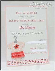 Baby Shower invitation, Something for Baby, Onesie, baby girl, Stampin' Up!, #stampinup, Connie Babbert, www.inkspiredtreasures.com