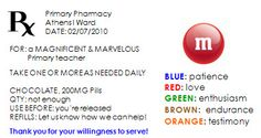 Prescription bottle label. Download to word and then make changes. To a M (Marvelous & Magnificent) Teacher