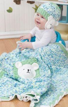 Free Crochet Polar Bear Blanket & Hat pattern.