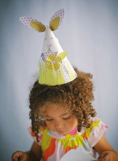 Craftside: Wee Bunny Cone Hat Pattern and tutorial from The Paper Hat Book by Alyn Carlson. #paperhatbook #paperhatpattern #bunnyhat