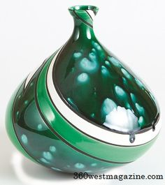 Hand thrown vase made of glass and clay, Pamela Summers, 360 West Magazine, August 2013