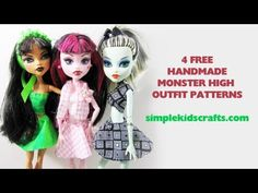 How to make handmade clothing for your Monster High Doll - what Lili has planned for tomorrow, these look pretty simple for her to do with a little help