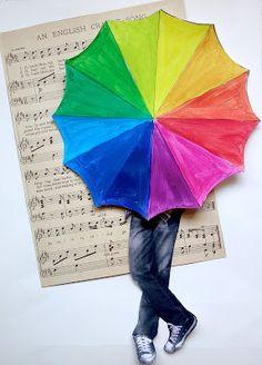 A Rainbow Colour Wheel Umbrella! paint, digital photo