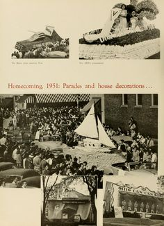 """Athena Yearbook, 1952. Ohio University Homecoming, """"the Beta's prize winning float, ADPi's prizewinner, Homecoming 1951: Parades and house decorations..."""" Fall 1951, Ohio University Archives"""