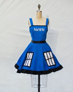 Doctor Who TARDIS retro-style dress from etsy seller Lameasaurus.  They also have Star Wars and Disney dresses in this style! retro styles, tardi, cosplay collect, bow ties, doctorwho, star wars, doctor who, style dress, disney dresses