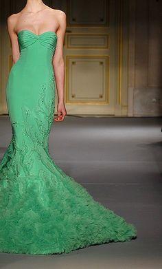 green gown wedding dressses, fashion, georg hobeika, green dress, mermaid dresses, gown, spring 2013, haute couture, georges hobeika