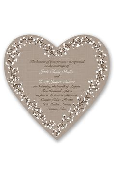 Hearts in Harmony Wedding Invitation by David's Bridal | Follow us and start pinning pretty paper options - from invitations and save the dates to programs and table numbers - for a chance to win $1,000 to InvitationsbyDavidsBridal.com. Enter here: http://sweeps.piqora.com/rsvpready