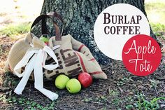 Burlap Coffee Bags Apple Tote Tutorial