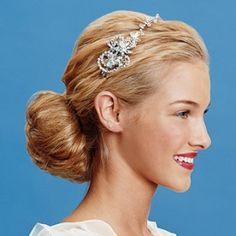 Low bun style with hair accessory bun hairstyles, headband, bridesmaid, braid hair, crystal, hair accessories, blog, wedding hairstyles, wedding day hair