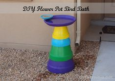 DIY Flower Pot Bird Bath by http://thriftyninja.net   perfect for outside decor this spring and summer