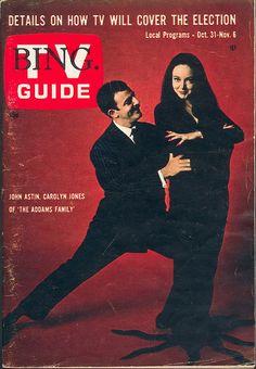 TV Guide Issue 605. October 31, 1964. John Astin & Carolyn Jones of ABC's The Addams Family...