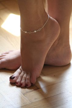 Feminine, delicate, ankle bracelet Stirling silver with tiny bell.