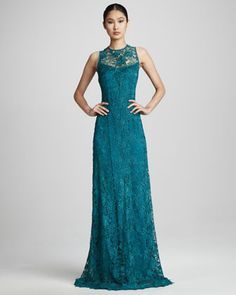 High-Neck Lace Gown by Rickie Freeman for Teri Jon at Neiman Marcus.