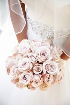 Dusty pink and white rose bouquet.  just add sparkle