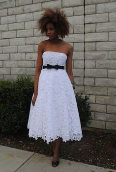 vintage 50s style WHITE LACE DRESS crochet wedding tea length strapless corset belted party pouf full. $500.00, via Etsy.